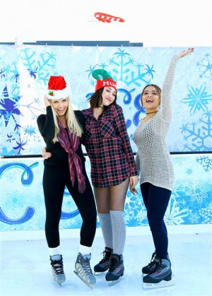 Santa Monica, CA - Nov. 18, 2015 - MUDD campaign girls Noah Cyrus, Stella Hudgens and Alli Simpson Kick Off the Holidays at the Ice Rink in Santa Monica, CA.  - PICTURED: Alli Simpson, Stella Hudgens, Noah Cyrus - PHOTO by Sara Jaye Weiss/StartraksPhoto.com