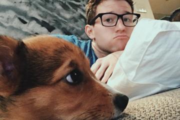 Ricky Dillon & His Corgi Pup Recreate Funny Dog Pics