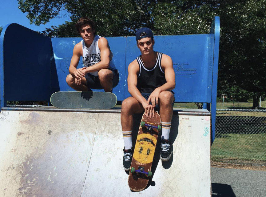 The Dolan Twins Enjoy a Shirtless Skateboarding Session