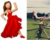 Selena Gomez as the Dancing Lady Emoji
